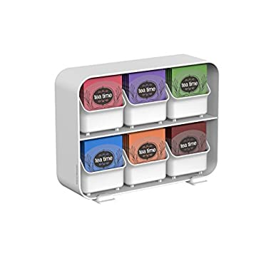 Mind Reader 6 Drawer Tea Bag Holder and Organizer, White