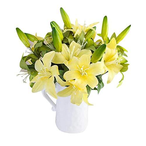 Bumen kunstblumen 1Stück 2 Köpfe lilien kunstblumen tischdeko Hochzeit Blumenschmuck deko Ideen deko zimmerpflanzen Kunststoff,Stoff kunstblumen blumenversand Dekoration Weihnachten deko