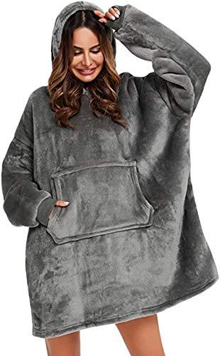 BeKing Huggle Hoodie - Ultra Plush Couverture Sweat à Capuche Hiver Chaud Peignoir Réversible Sweatshirt Unisexe [Taille Unique] pour Accueil/Bureau/Faire des Courses/Camping (Gris)