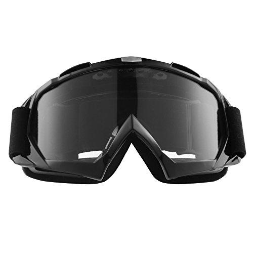 Sijueam Lunettes de Protection de Yeux Visage Masque pour sport de plein air Anti-UV coupe-vent Anti-sable Anti-poussière pour Activités Extérieures vélo Moto Cross VTT Ski Snowboard Cyclisme Goggles - Cadre Noir, lentille claire