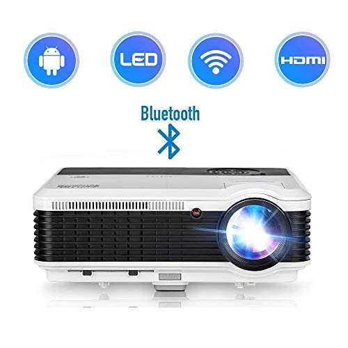 Smart WiFi Video Projector, 4600 Lumen WXGA Support 1080P HD LED Home Cinema Bluetooth Wireless Projector with Airplay, Built-in Speaker, Compatible with iPhone Laptop TV Stick PS4 HDMI USB VGA