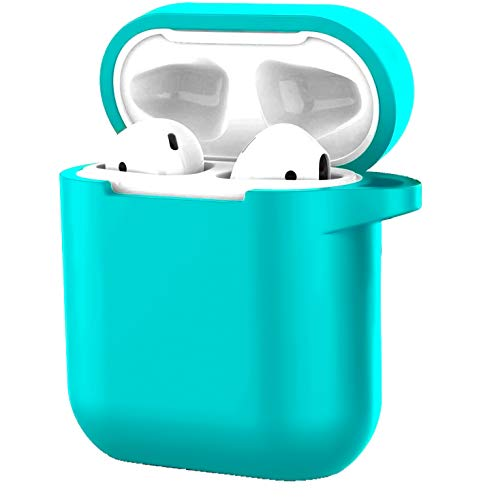 Compatible with Airpods 1/2 USB Wire Charging Silicone Case Protective Silicone Cover and Shockproof Skin Cover - Blue