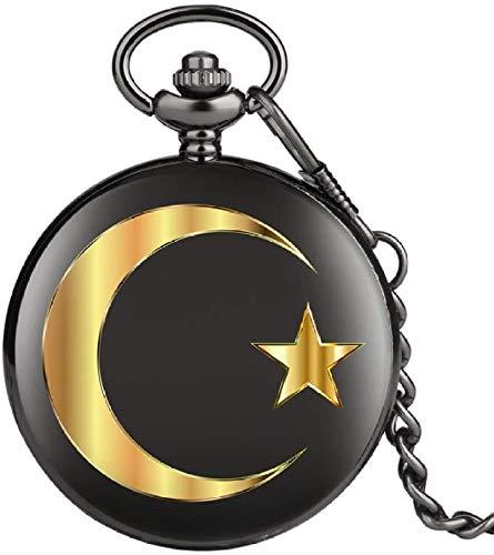 N / A Reloj de Bolsillo, Oro de la Luna Diseño de Las Estrellas de Cuarzo Reloj de Bolsillo Reloj de Bolsillo del análogo Cadena Smooth Hombres Mujeres Punk Recuerdo Relojes