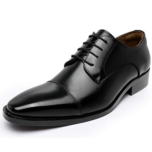 [フォクスセンス] ビジネスシューズ 本革 ストレートチップ 革靴 高级紳士靴 メンズ 外羽根 ドレスシューズ 撥水 ブラック 26.5CM R100-01