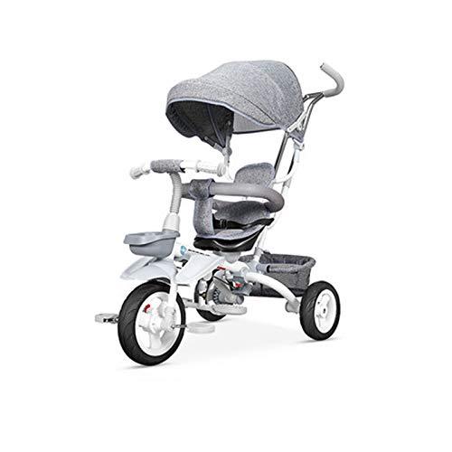 Triciclo ligero para niños y niños de 2 a 5 años, truco de pedal de 3 ruedas con neumáticos sin inflar, cesta de almacenamiento, manillar y asiento ajustables, marco de acero (color gris)