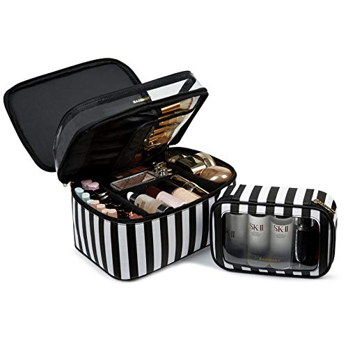BAGSMART Large Cosmetic Bags Double Layer with Adjustable Dividers, 2 in 1 Makeup Bag Water-resistant Leather with Portable Clear Makeup Cases Travel, for Makeup, Cosmetics Tools, Brushes