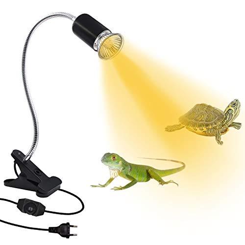 Schildkröte Wärmelampe, Pflanzenlicht, Wärmespotlampe für Aquarium Reptil, Pflanzenlampe mit 360° Drehbarem Clip, Heizlampe für Schildkröten, EU-Stecker und Dimmbarer Schalter (ohne Glühbirne)