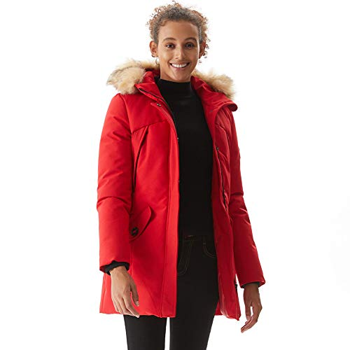 PUREMSX Winter Heavyweight Hooded Jackets for Women Ladies Long Thicken Insulated Water-Resistant Parka Down Alternative Padded Jacket Deatchable Fur Trim Outwear Warm Overcoat,Red,Small