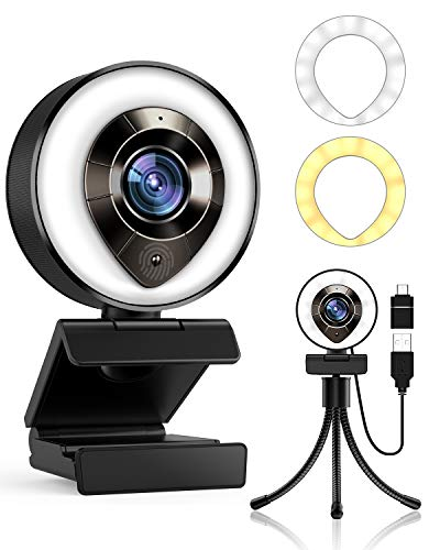 2021 Petocase HD 1080P Webcam with Microphone,Ring Light,Plug and Play,Adjustable Brightness,Advanced Auto-Focus,Privacy Protection,USB Streaming Webcam for PC Desktop Laptop MAC,Zoom Skype YouTube