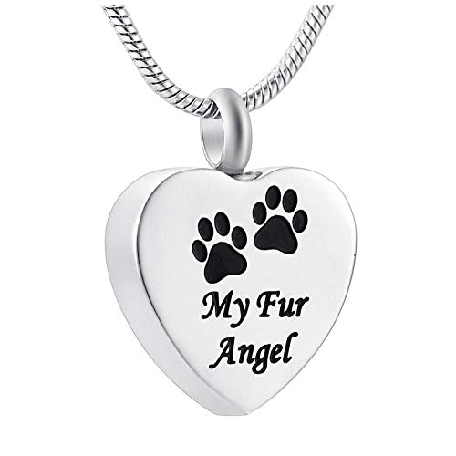 Wxcvz Jewellery Urn Necklace Pet Paw Cremation Necklace Stainless Steel Memorial Jewelry For Dear Cat Dog Ashes Keepsake+Free Fill Kits