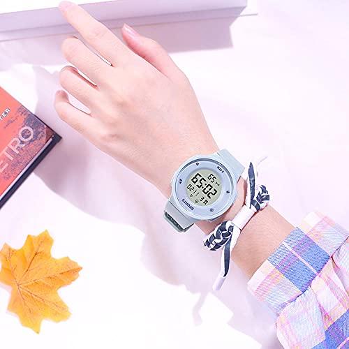 Reloj Infantil,Reloj electrónico Masculino High School Students Simple Tendencia Mujer Mujer NATIVA A Prueba de Agua Reloj de Alarma multifunción multifunción-Matcha Green