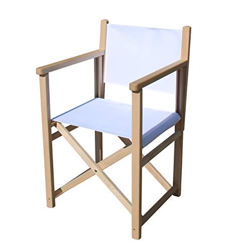 Uakeii. Premium Regiestuhl Faltbar - Star - Stylischer & Hochwertiger Klappstuhl aus Holz Schminkstuhl Weißer Bezug Massivem Buchenholz | Tragkraft 95 kg