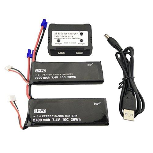 Accessori batteria drone 2PCS 7. 4V 2700mah Batteria al litio+ Caricatore durevole 1in2 per Hubsan x4 Pro H501SPro H501A H501C H501S H501M H501S W H501S pro Parti di backup Quadricottero senza spazzo