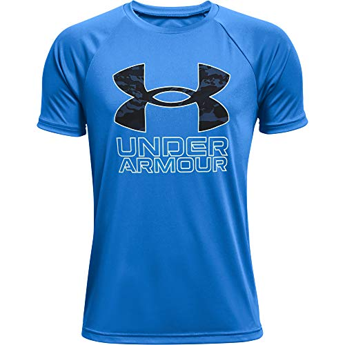 Under Armour Boys' Tech Hybrid Printed Fill Short-Sleeve T-Shirt , Blue Circuit (436)/Halo Gray , Youth Medium