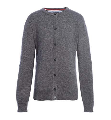 Tommy Hilfiger Cardigan Sweater, Kids School Uniform Clothes for Little or Big Girls, Medium Grey Heather, S