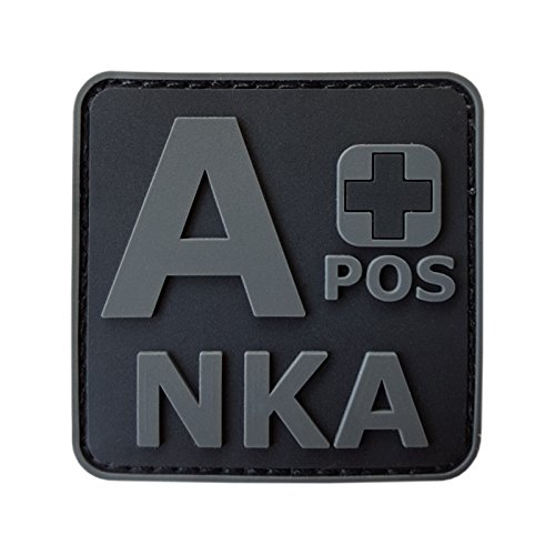 2AFTER1 ACU All Black APOS A+ NKA Blood Type No Known Allergies Morale PVC Rubber Fastener Patch