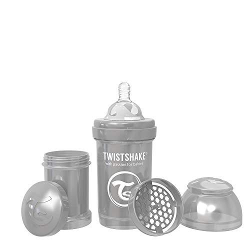 Twistshake 78378 - Biberón anti cólico, unisex, color perla gris