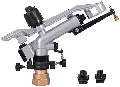 IrrigationKing RK-57 1-1/4' FNPT Impact Mini-Gun Sprinkler with Nozzle Set 10 mm, 12 mm, 14 mm x 4 mm, Aluminum