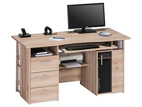 möbelando Computertisch Schreibtisch Arbeitstisch Tisch Bürotisch Merell I Edelbuche