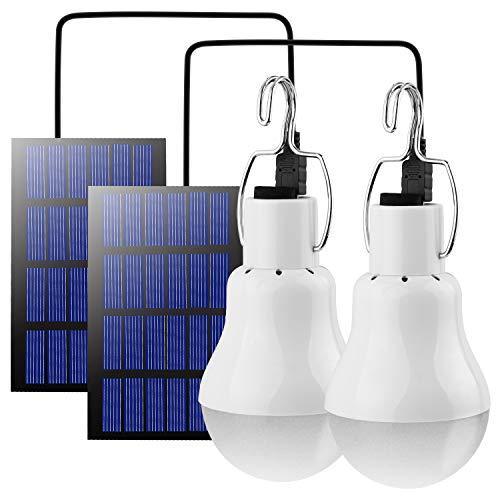 Beinhome LED Solar Glühbirne Solarlampen für Außen,Solar Laterne Camping Lampe Solar Hängelampe mit Solarpanel,3W Licht Birne,Solarbeleuchtung für Außen Innen Camp Zelt Wandern Angeln Gartenhaus 2pcs