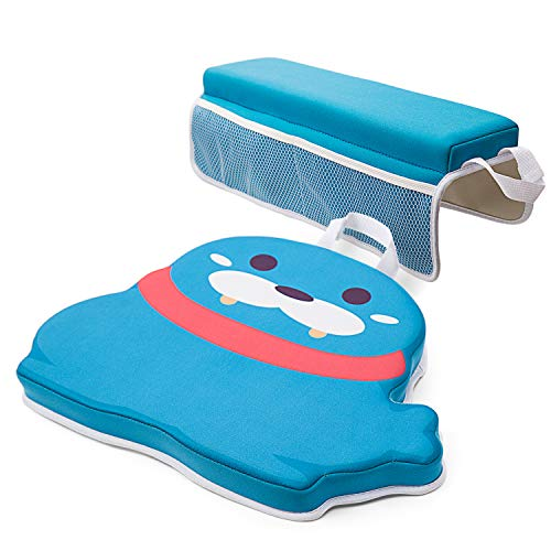 Bath Kneeler and Elbow Rest Pad Set with Toy Organizer 1.5'' Thick Baby Bath Kneeling Pad for Knee & Arm Support Large Bathtub Kneeling Mat for Happy Bathing Time(Blue sea Lion)