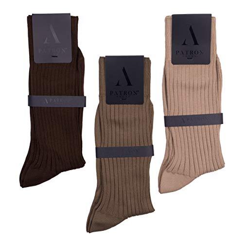 Patron Socks - 3er Pack bunte Business Socken (43-45, Braun Töne)