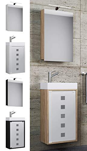 VCM Waschplatz Waschbecken Schrank + Spiegelschrank WC Gäste Toilette Badmöbel klein schmal Blida Spiegelschrank Schwarz