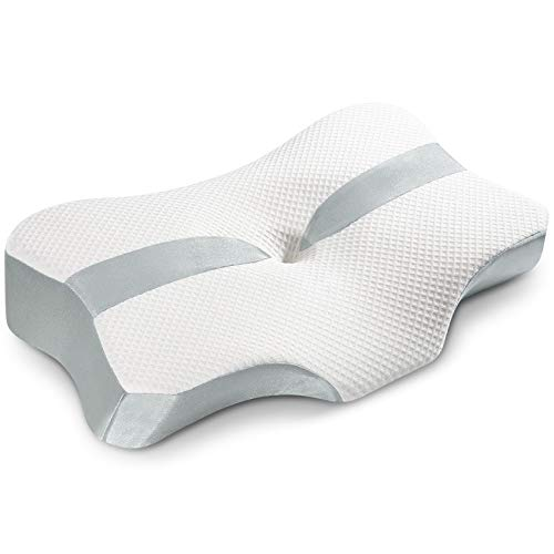 YARKOR Contour Memory Foam Pillow, Orthopedic Pillows for Neck Pain, Ergonomic Cervical Pillow for Side Sleepers, Back and Stomach Sleep (with Machine Washable Pillowcase)