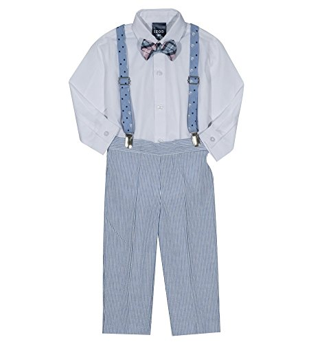 Izod boys 4-Piece Creeper, Bow Tie, Suspenders, and Pants Set, Fairy Tale, 3/6 Months
