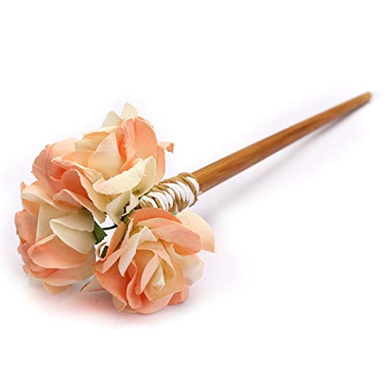 アシストカリング人柄HuaQingPiJu-JP クラシックフラワーヘアクリップマニュアルパレス結婚式アクセサリーエレガントなコートヘアクリップギフト(ライトイエロー)