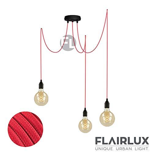Flairlux Pendelleuchte 3 flammig schwarz höhenverstellbare DIY Hängeleuchte für Affenschaukel mit 3x3 Metern Textilkabel in rot FL34