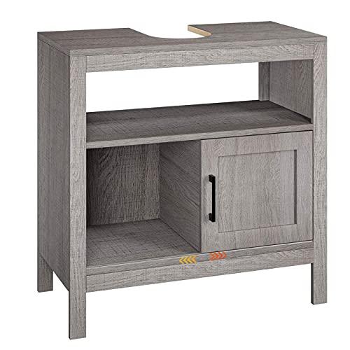 Mueble Bajo Lavabo Armario Baño Bajo con 1 Puerta Corredera 1 Estante Gris 60x30x60cm