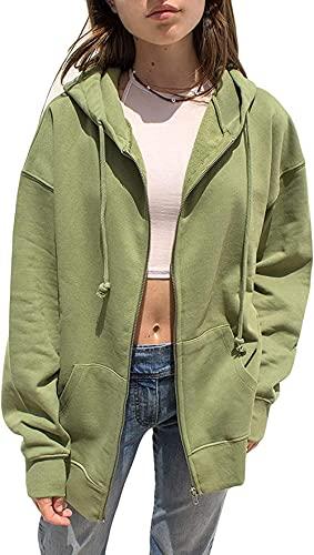 kabng Y2K - Chaqueta con capucha con cremallera para mujer, de gran tamaño, casual, de manga larga, ropa de calle, chaqueta y2k, ropa de moda, verde