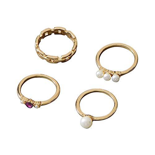 minjiSF Juego de anillos retro exquisito, de oro para mujeres y niñas, con perlas blancas, regalo de joyería para el día de San Valentín, joyas de regalo, 4 unidades (oro)