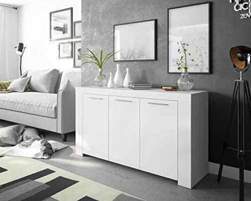 Dmora Credenza Ante con Tre Ripiani Interni, Colore Bianco Opaco, cm 144 x 80 x 42