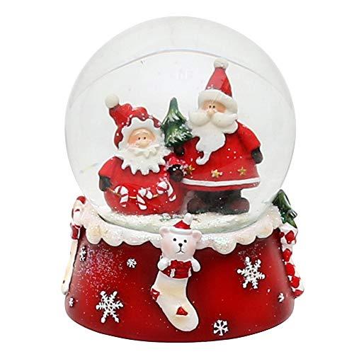 Dekohelden24 Palla di neve Babbo Natale Duo, rosso bianco, dimensioni H/B/Ø sfera: ca. 8,5 x 7 cm/Ø 6,5 cm.