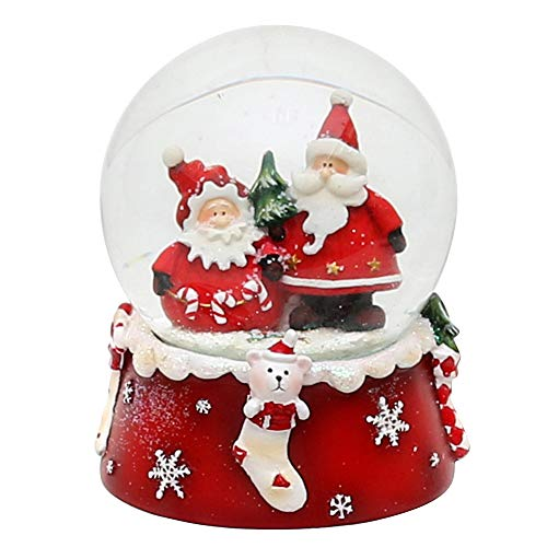 Dekohelden24 Schneekugel, Weihnachtsmann Duo, rot weiß, Maße H/B/Ø Kugel: ca. 8,5 x 7 cm/Ø 6,5 cm.