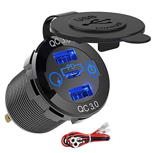 GemCoo Doppio QC3.0 USB Presa e Tipo C PD per Auto Alluminio 60W, 12V/24V QC 3.0 Dual USB Porta Carica Rapida con Voltmetro LED Indicazione per Moto