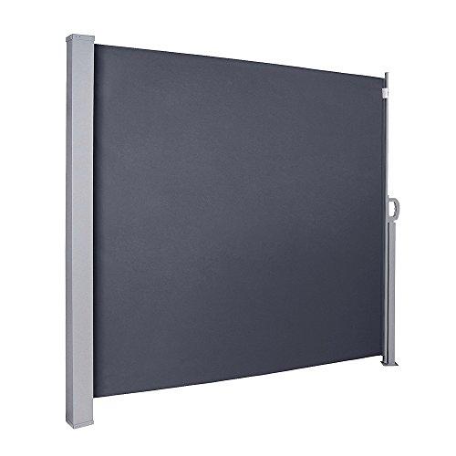 wolketon 180x300 cm Seitenmarkise, Anthrazit Markise mit TÜV Geprüft Markise Ausziehbar UV-beständig für Balkon,Terrasse,Balkon,Garten Spielplätzen Sichtschutz