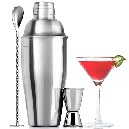 Zulay (24oz) Cocktail Shaker Set - Professional Drink Shaker, Jigger & Cocktail Spoon Set - Premium Stainless Steel Martini Shaker - Rustproof Bar Shaker With Free Cocktail Recipe Booklet