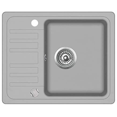 vidaXL Granitspüle Einzelbecken Grau Küchenspüle Spüle Spülbecken Einbauspüle