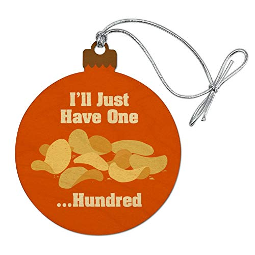 GRAPHICS & MORE Potato Chips I'll Just Have One Hundred Funny Wood Christmas Tree Holiday Ornament