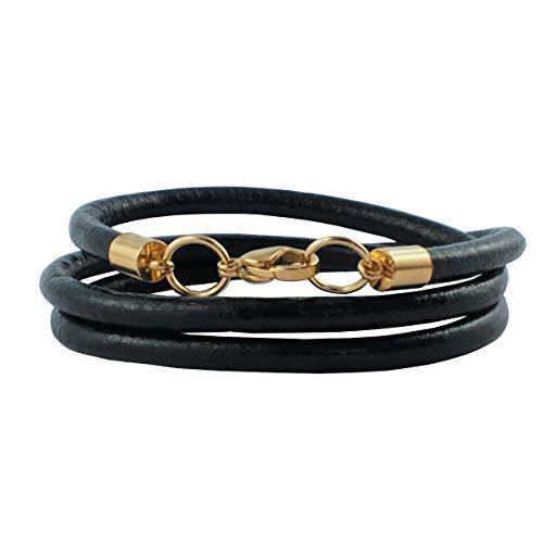 König Design Lederkette Lederhalsband Lederarmband Glatt 4 mm Herren Halskette schwarz 50 cm lang mit Karabiner Verschluss Gold Rund