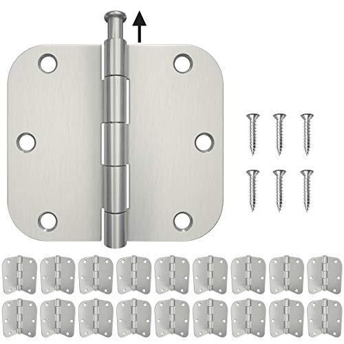 HOSOM 18-Pack Door Hinges Brushed Nickel 3.5, Hinges for Interior Doors with 5/8 Radius Corners