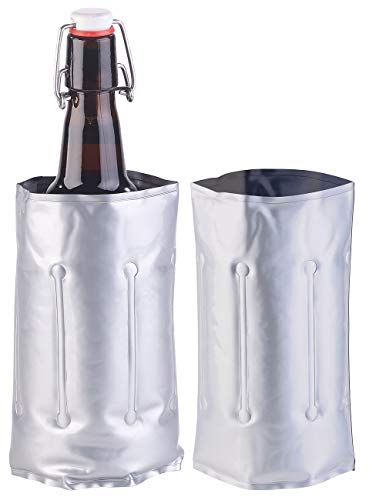 infactory Kühlmanschette Wein: 2er-Set Flaschenkühler, für Ø 75-80 mm, Kühl- & Wärme-Gel (Flaschenkühler Kühlmanschette)