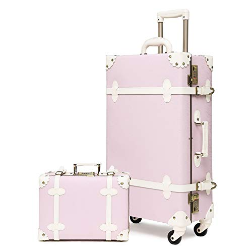 urecity Womens Luxury Vintage Trunk Luggage Set 2 Piece Cute Retro Pink Hardside Suitcase (Purple Pink, 20')