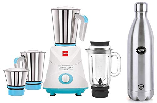Cello Swift Steel Flask, 1 Litre, Silver & Cello GNM_Elite Mixer Grinder, 500W, 3 Stainless Steel Jar and 1 Juicer Jar (Blue)
