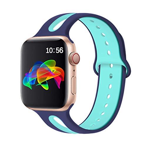 Correa de silicona para Apple Watch Band 44mm 42mm 40mm 38mm Pulsera Pulsera deportiva para IWatch 6 5 4 3 2 40 38 42 44 Mm Accesorios-azul Verde 7,42mm-44mm L