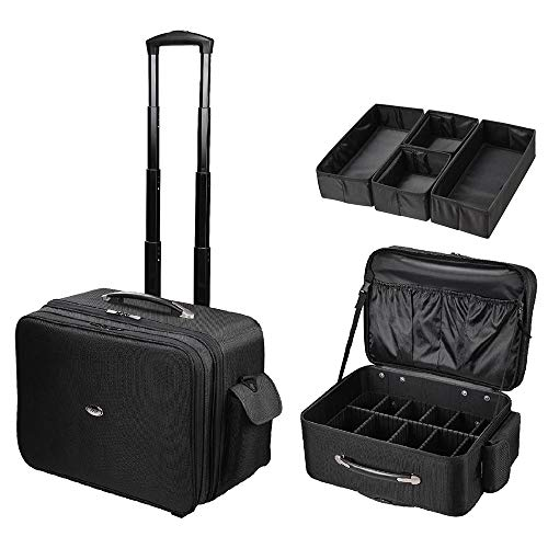 AW Rolling Soft Sided Makeup Case Freelance Artist Division Luggage Organized Cosmetic Storage Travel Train Case Trolley