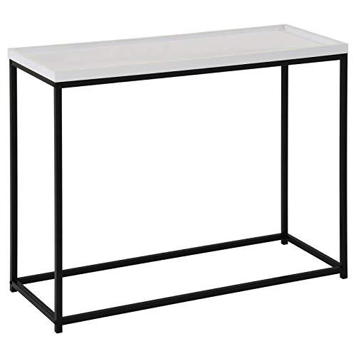 Konsolentisch Iconic modernes Design, Konsole Sideboard Ablagetisch Flurtisch, Metallgestell, in weiß